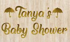 Custom Baby Shower Banner Umbrella Banner Gold Mirror Card Bunting Garland