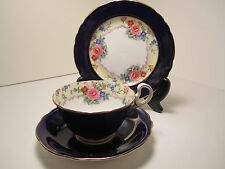 AYNSLEY ENG CHINA TRIO CUP & SAUCER PLATE COBALT BLUE GOLD WITH FLOWERS GORGEOUS