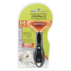 FURminator Long Hair deShedding Tool for Dogs, Medium,Reduces shedding upto 90%