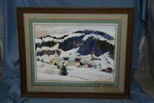 tableau peinture St François sous la neige signé Andre Peuble  1958