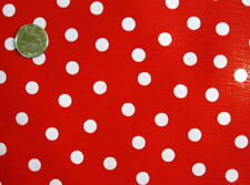 RED + WHITE POLKA DOT MINNIE MOUSE HOLIDAY DINE OILCLOTH VINYL TABLECLOTH 48x96