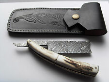 Straight Razor Damascus Steel with leather case