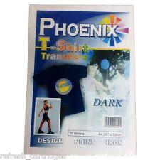 PHOENIX DARK T-SHIRT IRON-ON TRANSFER PRINTER PAPER / 10 SHEETS = 2xPacks Of 5