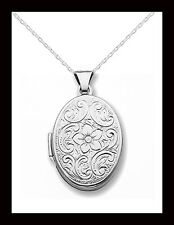 "Sterling Silver Oval Floral Locket w/18"" Chain 28MM X 17MM - Gift Boxed"