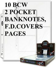 10 BCW 2 POCKET PAGE FIT FIRST DAY COVERS BANK NOTES BANKNOTES