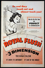 ROYAL FLUSH POKER GAMBLING 3-D RARITY 1953 1-SHEET MOVIE POSTER