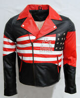 New Men's USA Star Flag Brando Style Black Real 100% Sheep Skin Leather Jacket