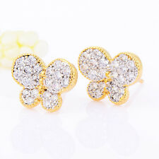 Safety Security Babys Little Girls Butterfly Screwback Stud Earrings Clear CZ