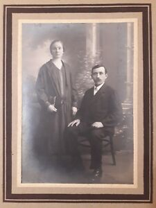 Antique Real Photographic Images Man & Woman Russian husband and wife 1928 OLD