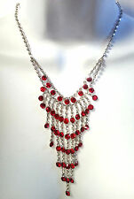 "Red Necklace Rhinestone Silver Fringe Valentines Day Gift 17"" with Extender"