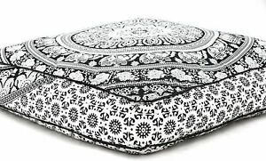 "Indian White Elephant Mandala Cotton Cushion Cover 35"" Pillow Case Floor Decor"