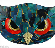 LEA STEIN FIGURAL TURQUOISE BLUE MOSAIC ATHENA THE OWL HEAD FACE BIRD BROOCH PIN