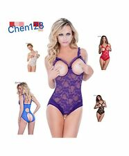 Plus Size Womens Sexy Clothing Teddy Babydoll Open bra Crotchless Lace Lingerie