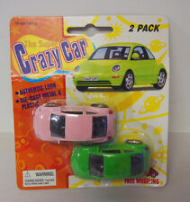 THE SUPER CRAZY CAR DIECAST 2 PACK VOLKSWAGEN BEETLES 1:64 RUBBER TIRES HTF