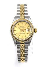 VINTAGE LADIES ROLEX DATEJUST 69173 WRISTWATCH 18K GOLD STAINLESS BOX c1995
