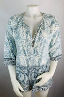 Soft Surroundings Women's Medium Blue Floral Tunic Popover Top Button V Neck
