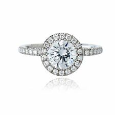 0.84 CT DIAMOND ENGAGEMENT RING H COLOR EGL CERT 18K WHITE GOLD 3.08 grTAX FREE