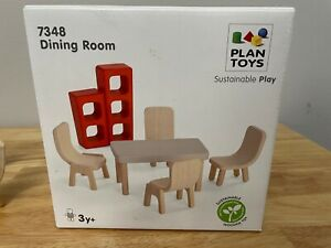 🔥 Plan Toys - Modern Dining Room Set Table - Dollhouse Furniture - Fits Maileg