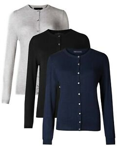 Women Ex M&S New Viscose Round Neck Button Long Sleeve Cardigan Jumper Tops 518