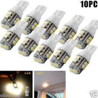 10X Warm White T10 10-SMD Car Side Wedge LED Light Lamp Bulb W5W 194 168 2825