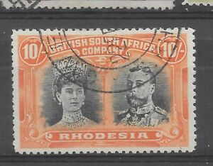 1910 Rhodesia, , BSAC double heads used 10s 10/= superb, ONE STAMP cv [s235]