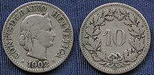 MONETA COIN MONNAIE HELVETIA SUISSE SWITZERLAND SVIZZERA - 10 RAPPEN 1902 -