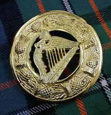 "Kilt Mosca Spilla Plaid Irish Arpa placcato in oro 3""/Irish Arpa Kilt Fly Plaid Spilla"