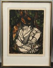 1965 Pencil Signed Modernist Surreal Abstract Hand Colored Etching Print Old Man