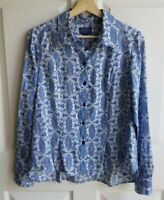 Pendleton Womens Silk Blue White Printed Button Down Blouse Top Shirt Size 10