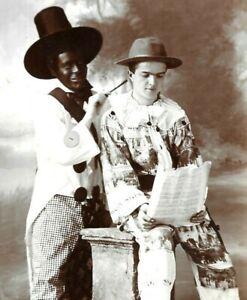 Early RP Photo Postcard Black Man Actors Unusual Outfits Clowns Brynhyfryd Wales