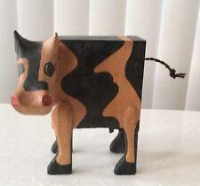 Folk Art Cow Bank Wooden Handmade in Indonesia