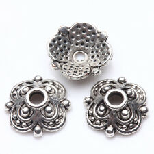 50Pcs Tibet Silver Plated Flower Spacer Beads Caps Jewelry Findings DIY 10X3mm