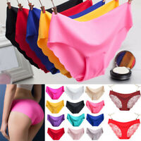 Women Sexy Mid Waist Lips Seamless Lingerie Briefs Ice Silk Underwear Panties