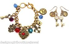 Fleur De Lis Charm Bracelet + Earrings set Antique Gold-tone Rhinestone Bead Key