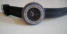 Geneva Black Women's Color Rhinestone-accented Silicone Fashion Dressy Watch