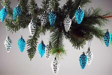 Set Of 16 Blue / Silver Pine Cone Christmas Tree Baubles Decorations