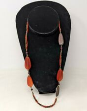 Long Single Strand Red Black Resin Bead Wood Pendant Statement Necklace
