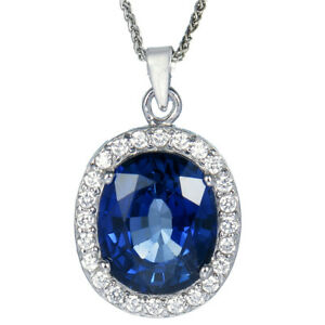 4.50 cttw Created Blue Sapphire Pendant Necklace in Brass Oval Shape with Chain