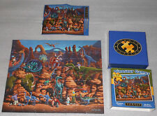Dinosaur Games Jigsaw Puzzle Dowdle Folk Art 100 T-Rex Triceratops Pterodactyl