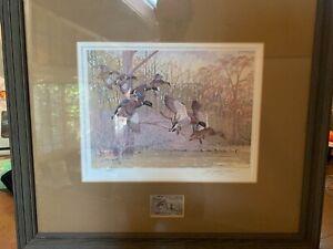 Framed & Signed1980 SD Pheasant Restore Stamp Print and Stamp, #156/300 J Moisen