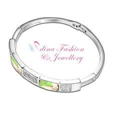18K White Gold GP Made With Swarovski Crystal Rectangle Luminous Green Bangle