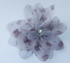 Grey Chiffon Butterfly Diamante Flower Hair Clip Dress Pin Wedding Prom Evening