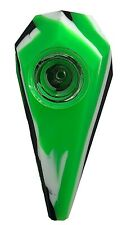 Silicone Diamond Hand Pipe with Glass Bowl Green and Black
