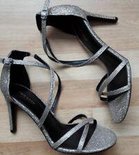 INDOVINA Ladies Argento Mule Scarpe in buonissima condizione taglia 8 M USA 6 UK elegante GATTINO tacco.