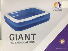 Giant 200x150x50cm Rectangular Pool, Inflatable Outdoor Family Paddling Pool Fun