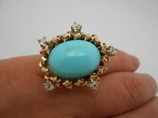 Large Antique Estate 14k Solid Yellow Gold Turquoise Rose Cut Diamond Ring S 5.5