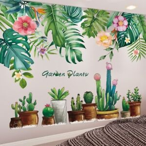 3D Wall Stickers Tree Leaves Pots Home Kids Room Art Decor Removable DIY Decals