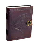 Drache Indien Notiz Tage- Skizzen- Lederbuch Handmade Vintage Dragon RPG Fantasy
