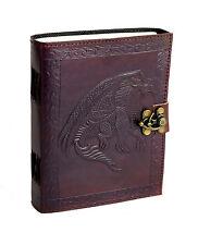 Drache Indien Lederbuch Tagebuch Notizbuch Handmade Vintage Dragon RPG Fantasy