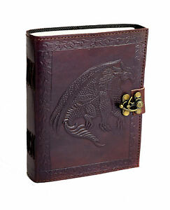 B-Ware! Drache Indien Tage- Notiz- Skizzen Lederbuch Handmade Dragon RPG Fantasy